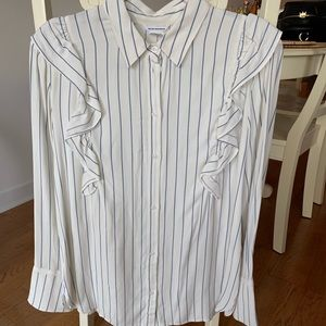 Like new! Club Monaco pinstripe ruffle blouse (M)